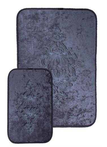 ikinciten 2'Li Banyo Paspası Büyük Boy Klozet Takımı Halısı Kaymaz Yumuşak 110X80 80X40 Antrasit Antrasit